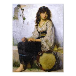 The Little Tambourine Girl ~ 17 Cm X 22 Cm Invitation Card