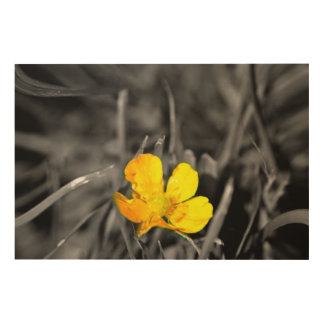 The little yellow flower wood wall art