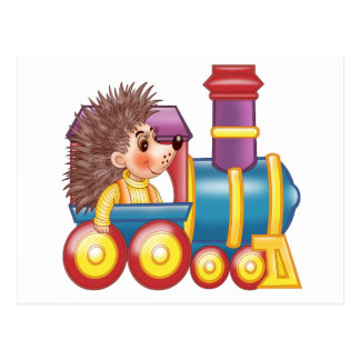 the locomotive and the hedgehog postcard