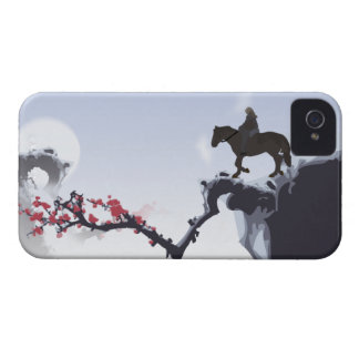 The Lone Rider Cold - Winter Mountain Peaks iPhone 4 Cases