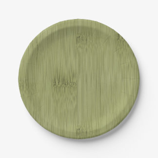 The Look of Bamboo in Olive Moss Green Wood Grain 7 Inch Paper Plate