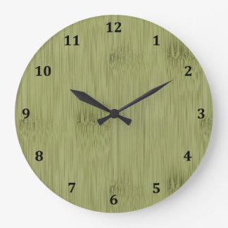 The Look of Bamboo in Olive Moss Green Wood Grain Large Clock
