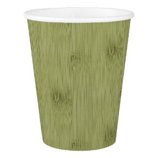 The Look of Bamboo in Olive Moss Green Wood Grain Paper Cup