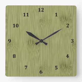 The Look of Bamboo in Olive Moss Green Wood Grain Square Wall Clock