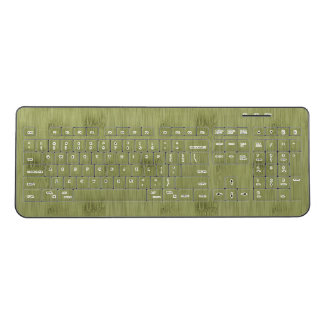 The Look of Bamboo in Olive Moss Green Wood Grain Wireless Keyboard