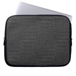 The Look of Black Realistic Alligator Skin Laptop Sleeve
