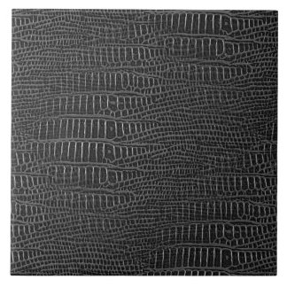 The Look of Black Realistic Alligator Skin Large Square Tile