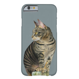 """The Lookout"" Tabby Cat on Wood Post Illustration Barely There iPhone 6 Case"