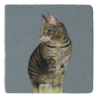 """The Lookout"" Tabby Cat on Wood Post Illustration Trivet"