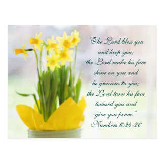 The Lord Bless You Bible Verse, Daffodils Custom Postcard