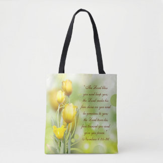 The Lord Bless You Bible Verse Yellow Tulips Tote Bag
