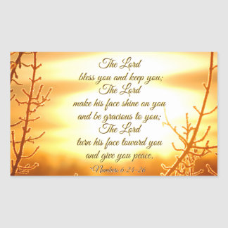 The Lord Bless You Numbers 6:24-26 Bible Verse Rectangular Sticker