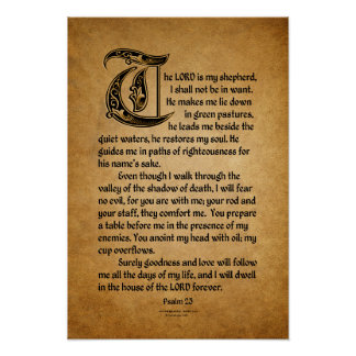 The Lord is my Shepherd (23 Psalm) Poster