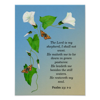 The Lord is my Shepherd Butterfly Flower Poster