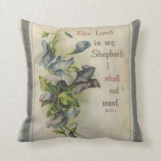 The Lord is My Shepherd Floral Scripture Throw Pillow