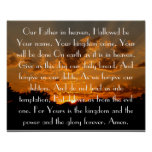 The Lord's Prayer on a beautiful sunset Poster