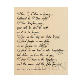 The Lord's Prayer on wood Wood Print
