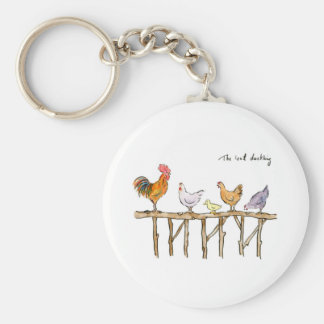 The lost duckling, chickens and duckling basic round button key ring