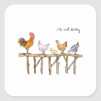 The lost duckling, chickens and duckling square sticker