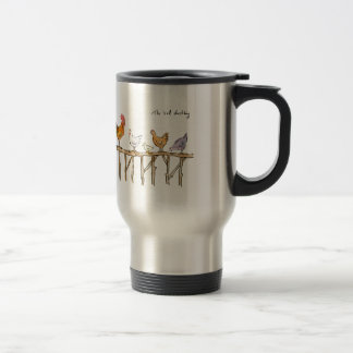 The lost duckling, chickens and duckling travel mug