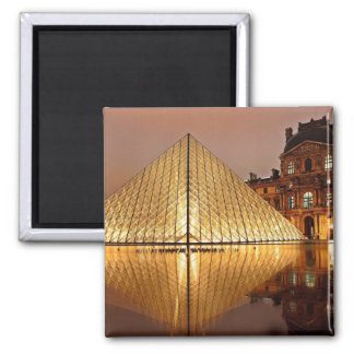The Louvre gallery, Paris at night Magnet