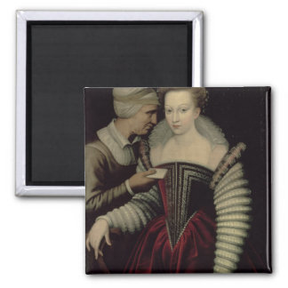 The Love Letter, a Lady with her Maid Square Magnet