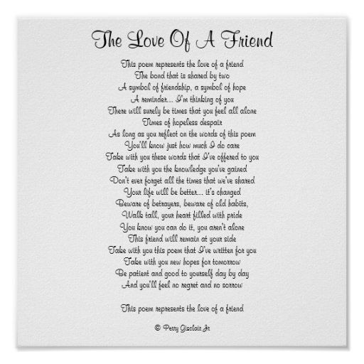 THE LOVE OF A FRIEND PRINT