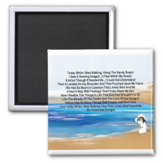 The Love Of A Seagull by Audra Square Magnet