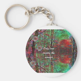 The love of nature creates a wonderful world basic round button key ring