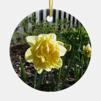The Lovely Daffodil Round Ceramic Decoration
