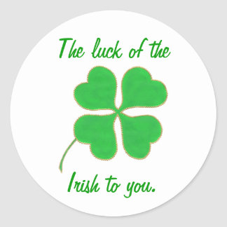 The luck of the Irish to you, shamrock stickers