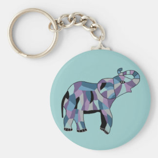 The Lucky Elephant Basic Round Button Key Ring