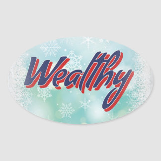 The Lucky Mantras: Happy Healthy Wise and Wealthy Oval Sticker