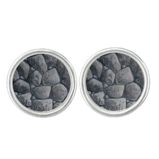 The Lump Of Coal cufflinks round silver plated