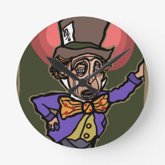 The Mad Hatter Round Clock