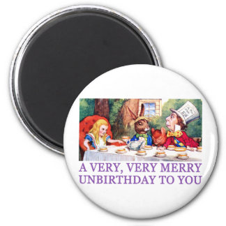 THE MAD HATTER WISHES ALICE A MERRY UNBIRTHDAY! REFRIGERATOR MAGNET