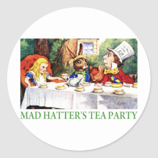 THE MAD HATTER'S TEA PARTY CLASSIC ROUND STICKER