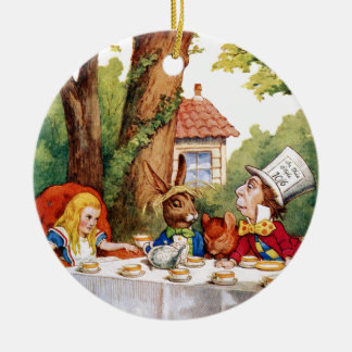 The Mad Hatter's Tea Party in Wonderland Ceramic Ornament