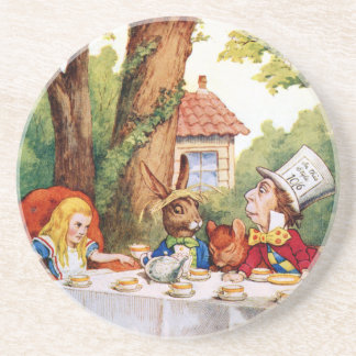 The Mad Hatter's Tea Party in Wonderland Beverage Coasters