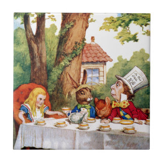 The Mad Hatter's Tea Party in Wonderland Small Square Tile