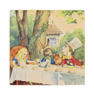 The Mad Hatter's Tea Party Maple Wood Coaster