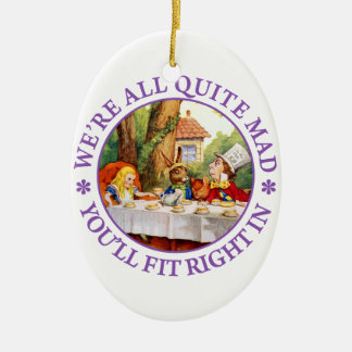 """The Mad Hatter's Tea Party -""""We're All Quite Mad!"""" Ceramic Oval Decoration"""