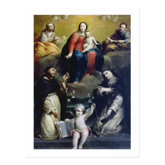 The Madonna of the Rosary with SS Dominic, Catheri Postcard