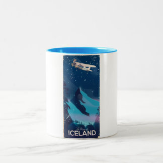 The Magic of Iceland travel poster Two-Tone Coffee Mug