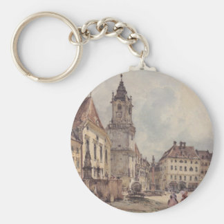 The main square in Bratislava by Rudolf von Alt Basic Round Button Key Ring