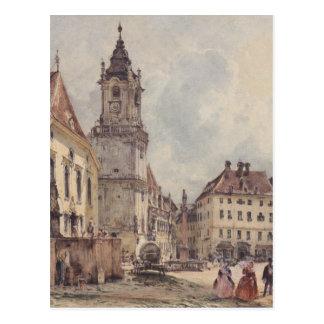The main square in Bratislava by Rudolf von Alt Postcard