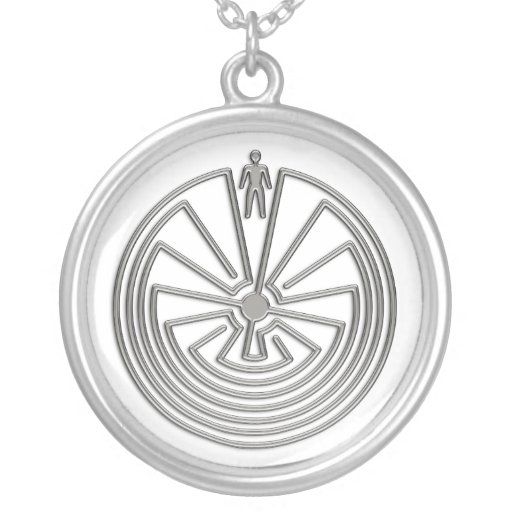 The Man in the Maze - silver Personalized Necklace