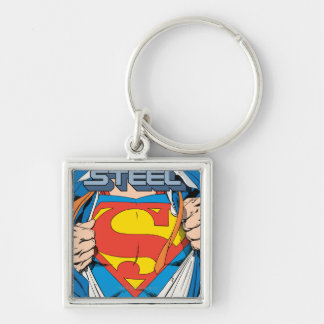 The Man of Steel #1 Collector's Edition Silver-Colored Square Key Ring
