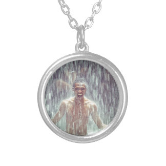 The man under the Waterfall Silver Plated Necklace