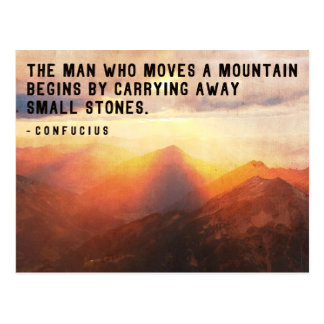 The man who moves a mountain..Motivational Wisdom Postcard